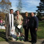 Outside Middlesex Presbyterian Church with Eagle Scout and Community Leaders at dedication of community garden