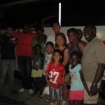Middlesex members with urban missionary Lance Farrell of the Relief Bus Ministry